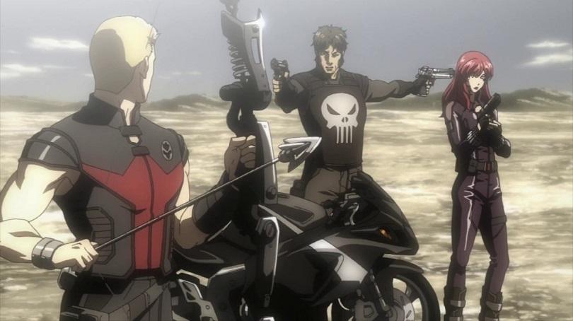 Justiceiro aponta armas para Gavião Arqueiro e Viúva Negra