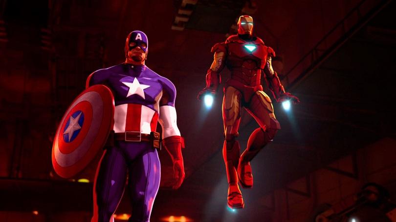 Steve Rogers e Tony Stark em Homem de Ferro e Capitão América: Super-Heróis Unidos