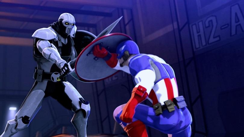 Treinador e Capitão América lutando em Homem de Ferro e Capitão América: Super-Heróis Unidos