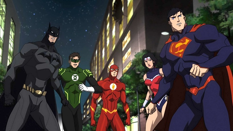 Batman, Lanterna Verde, The Flash, Mulher-Maravilha e Superman em Liga da Justiça: Guerra