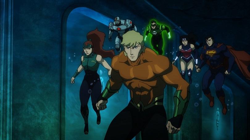 Aquaman, Mera, Ciborgue, Lanterna Verde, Mulher-Maravilha e Superman