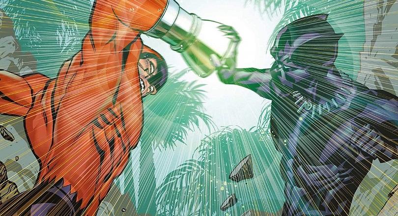 T'Challa luta em Pantera Negra: Vingadores do Novo Mundo