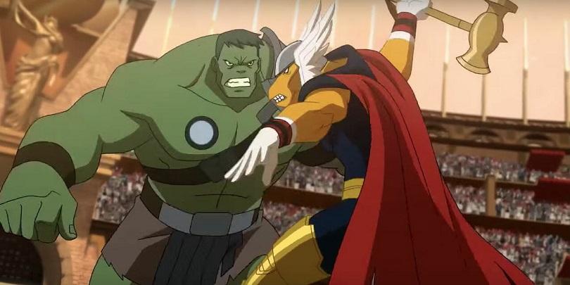 Hulk Gladiador e Bill Raio Beta se enfrentando em Planeta Hulk
