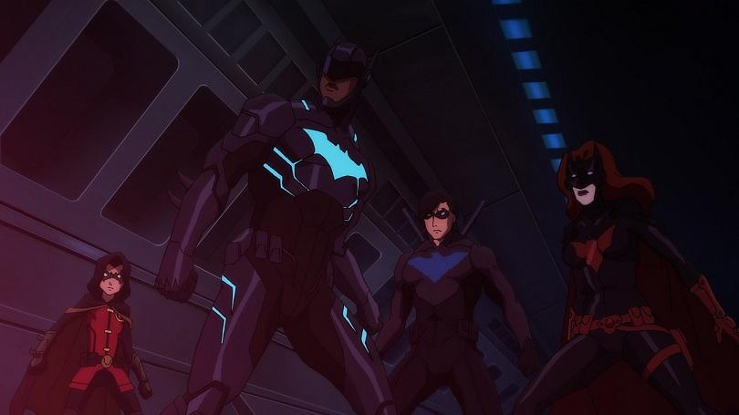 Robin, Batwing, Asa Noturna e Batwoman em cena de Batman: Sangue Ruim