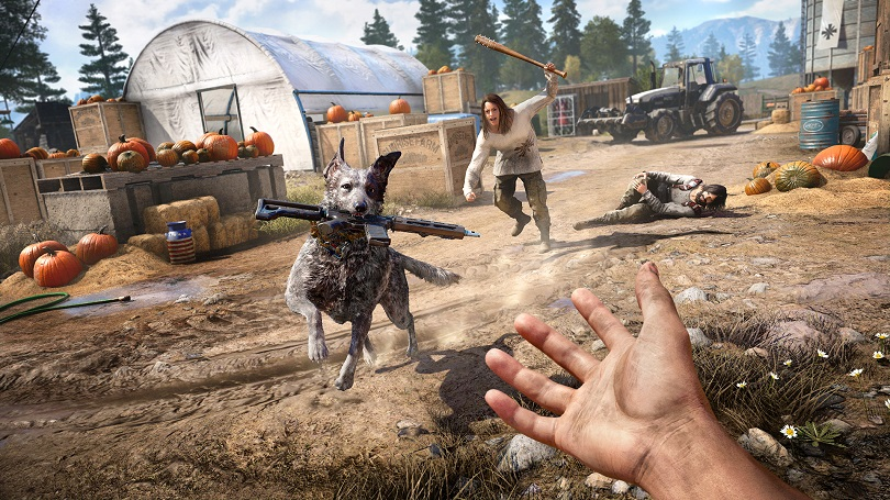 Cachorro trazendo arma em Far Cry 5