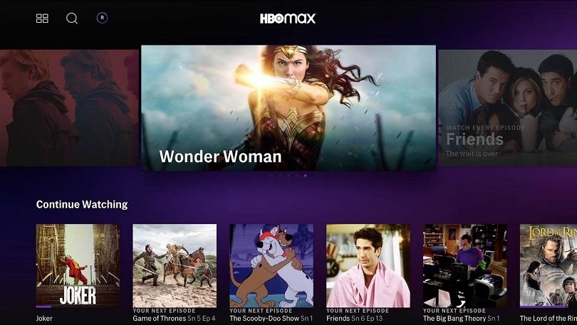 Tela do serviço de streaming HBO Max