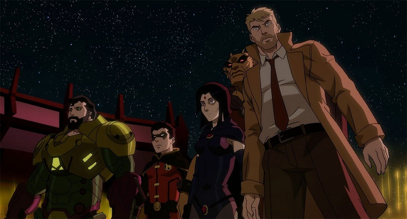 Superman, Robin, Ravena, Etrigan e Constantine em Justice League Dark: Apokolips War
