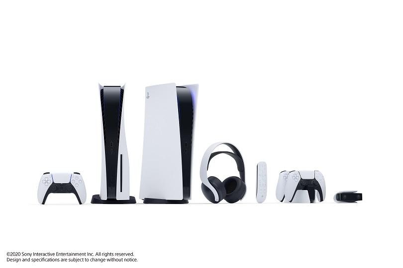 Imagem do PlayStation 5 e todos os seus acessórios