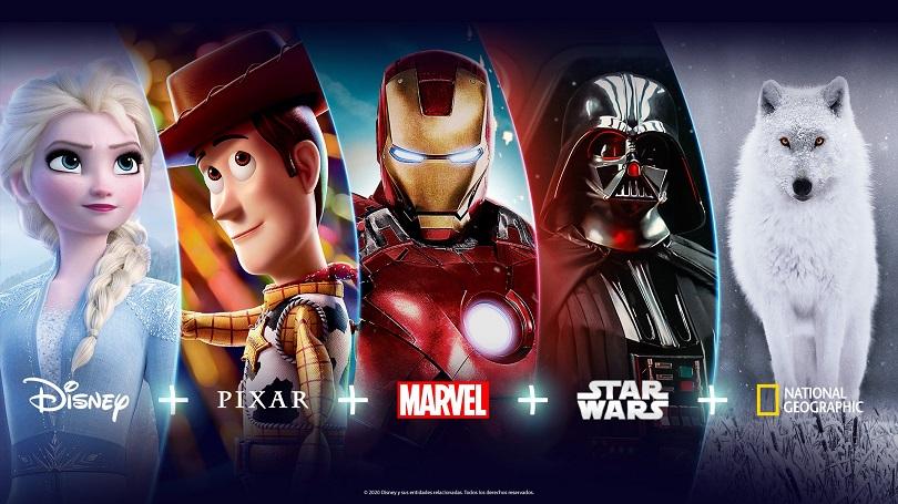 Imagem promocional das marcas disponíveis no Disney+