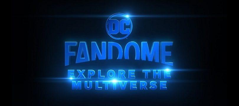Banner do DC FanDome: Explore o Multiverso com letras azuis e fundo preto
